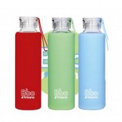 Botella de cristal reutilizable bbo con funda de silicona 550 ml irisana