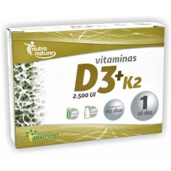 Vitaminas D3 + K2  2500 ui 60 caps pinisan