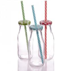 Botella de cristal con pajita