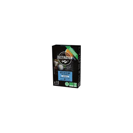 Cápsulas de café descafeinado pur arabica bio 55 g 10 cap. destination